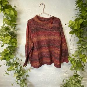 CJ Banks Over-Sized Button Cowl Neck Sweater 2X